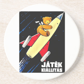 Teddy Bear On A Rocket Vintage Hungarian Toy Fair Coaster