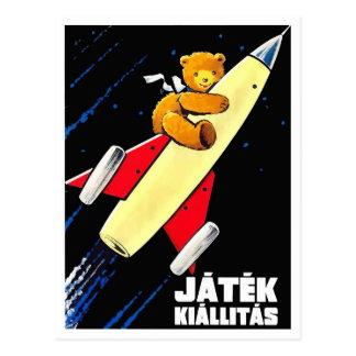 Teddy Bear On A Rocket Vintage Hungarian Toy Fair Postcard