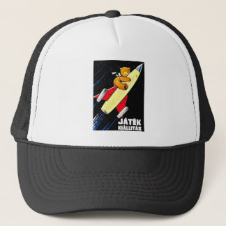 Teddy Bear On A Rocket Vintage Hungarian Toy Fair Trucker Hat