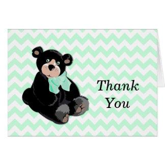 Teddy Bear on Chevron Thank You Note Card