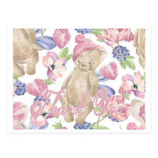 Teddy Bear on flowered background, thank you card