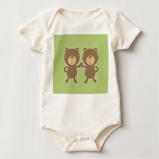 Teddy bear on plain pastel green. baby bodysuit