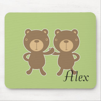 Teddy bear on plain pastel green background. mouse pad