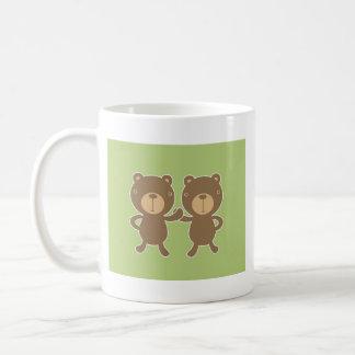 Teddy bear on plain pastel green background. coffee mug