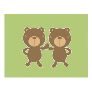Teddy bear on plain pastel green background. postcard
