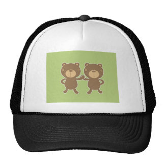 Teddy bear on plain pastel green. mesh hat