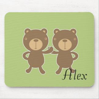 Teddy bear on plain pastel green. mouse pad