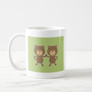 Teddy bear on plain pastel green. mug