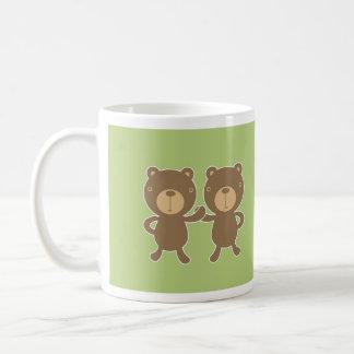 Teddy bear on plain pastel green. coffee mug