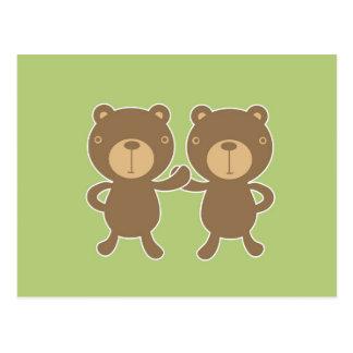 Teddy bear on plain pastel green. postcards