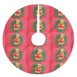 Teddy bear on wreath with stocking brushed polyester tree skirt