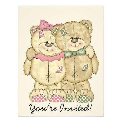 Teddy Bear Pair - Original Colors Personalized Invitations