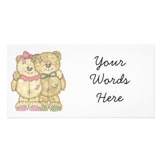 Teddy Bear Pair - Original Colors Personalized Photo Card