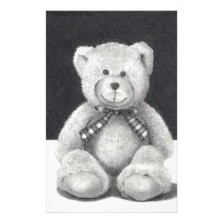 TEDDY BEAR PENCIL ART REALISM PERSONALIZED STATIONERY
