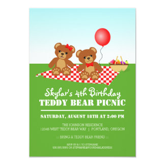 Teddy Bear Picnic Birthday Party 13 Cm X 18 Cm Invitation Card