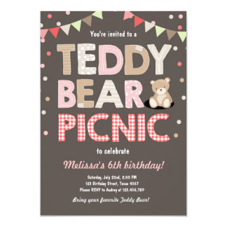 Teddy Bear Picnic Girl birthday Invitation Pink
