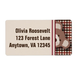 Teddy Bear Picnic Label- Brown & Red Gingham Shipping Label