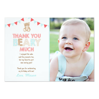 Teddy bear picnic Thank You Card Teddy bear Boy