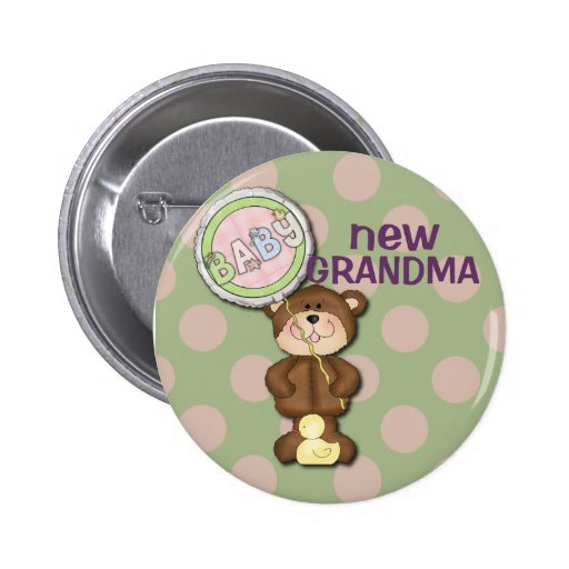 Teddy Bear Pink and Green Buttons