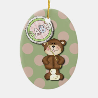 Teddy Bear Pink and Green Ceramic Oval Decoration