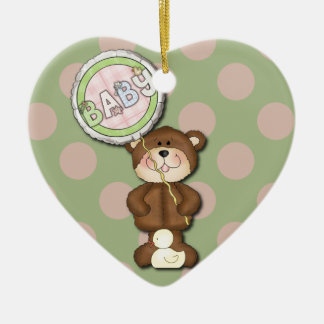 Teddy Bear Pink and Green Christmas Tree Ornaments