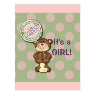Teddy Bear Pink and Green Postcard