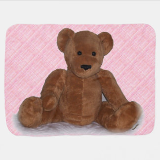 Teddy Bear (pink background) Baby Blanket