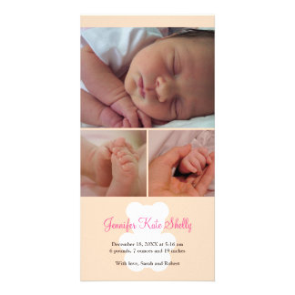 Teddy bear pink montage baby birth announcement customized photo card