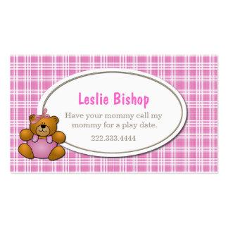 Teddy Bear Play Date Card Business Card Template