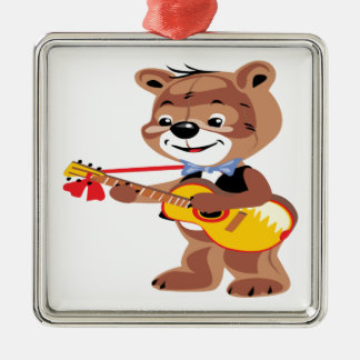 Teddy bear playing a guitar square metal christmas ornament