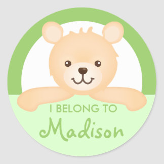 Teddy Bear Property Label (green) Round Sticker