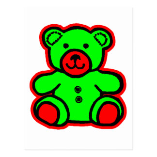 Teddy Bear Red Green The MUSEUM Zazzle Gifts Postcard