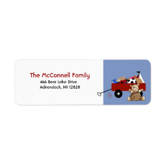 Teddy Bear Red Wagon PRINTABLE ADDRESS LABELS