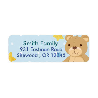 Teddy bear return address label