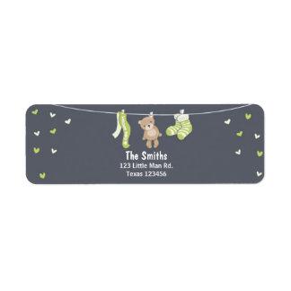 Teddy Bear Return Address Label Green
