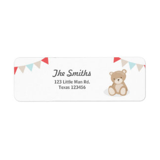 Teddy Bear Return Address Labels White