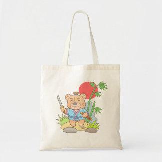 Teddy bear samurai tote bag