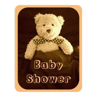 Teddy Bear Sepia Tone Baby Shower Invitation Card