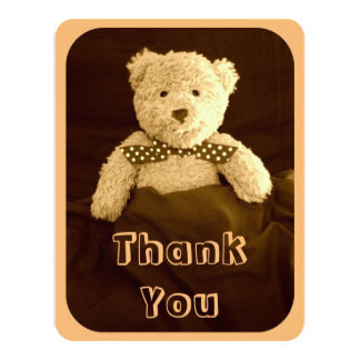 Teddy Bear Sepia Tone Baby Shower Thank You Card