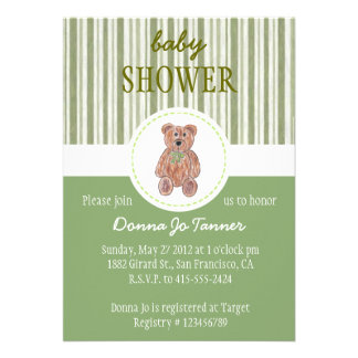 Teddy Bear Sketch Baby Shower Invitation - Green