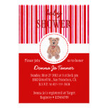 Teddy Bear Sketch Baby Shower Invitation - Red