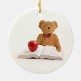 Teddy bear teacher or student round ceramic decoration