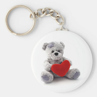 Teddy Bear Toy Holding A Heart On White Background Basic Round Button Key Ring