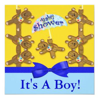 Teddy Bear Umbrella Boy Baby Shower Card