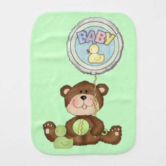 Teddy Bear Unisex Green Burp Cloth