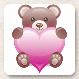 Teddy Bear Valentine Heart Coasters