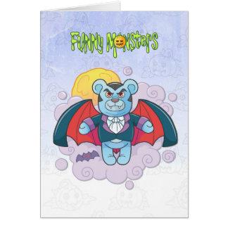 Teddy bear vampire card
