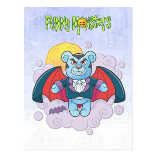 Teddy bear vampire postcard