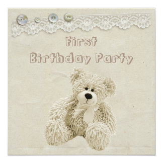 Teddy Bear Vintage Lace 1st Birthday Party Card