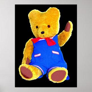 Teddy Bear Waving Black Background Poster